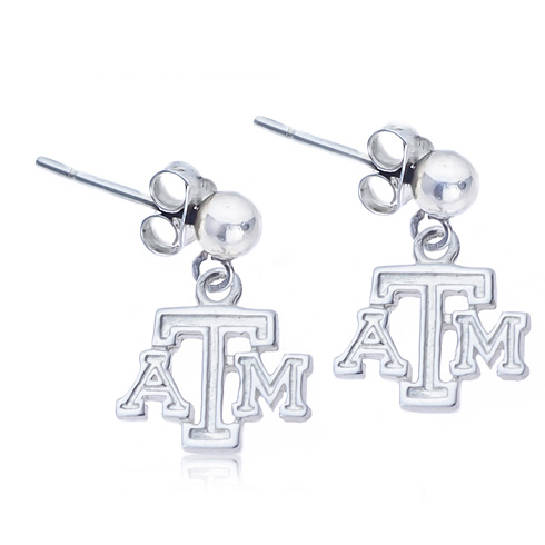 Sterling Silver Post Dangle Texas A&M Earrings