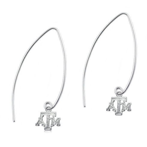 Sterling Silver Texas A&M Long Fishhook Earrings