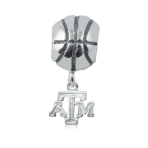 Sterling Silver Texas A&M University Basketball Bead