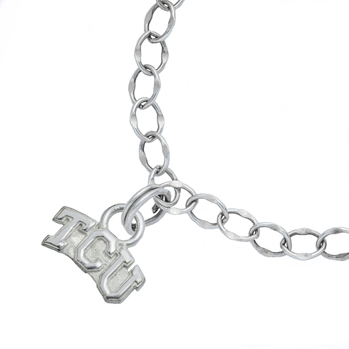 Sterling Silver 7 1/2in TCU University Charm Bracelet