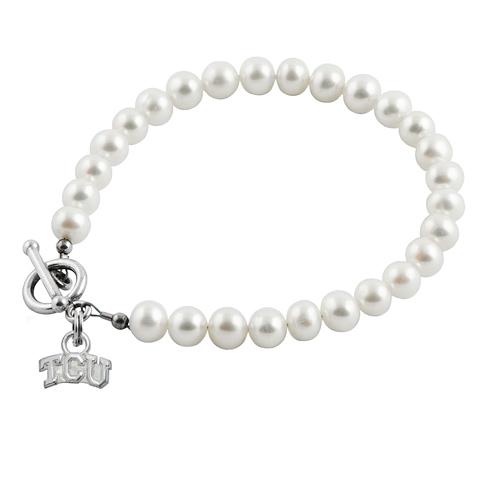 Sterling Silver TCU University White Pearl Bracelet