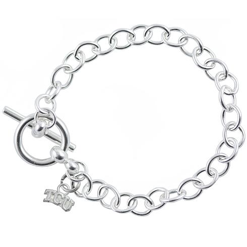 Sterling Silver 7 1/2in TCU University Link Bracelet