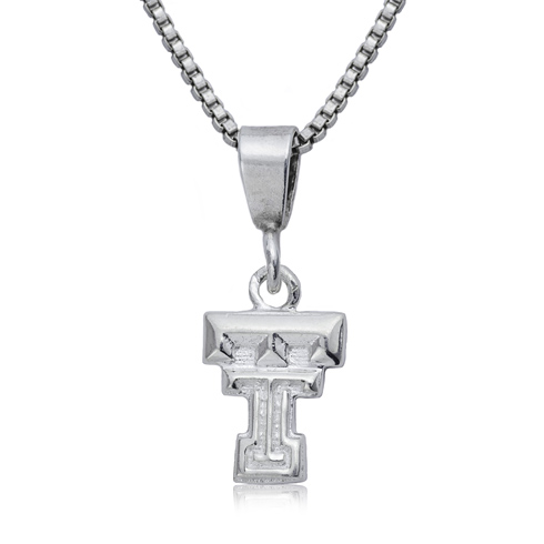 Sterling Silver 3/8in Texas Tech Charm on 16in Necklace