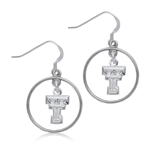 Sterling Silver Texas Tech Open Drop Earrings
