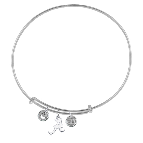 Sterling Silver Univ of Alabama Adjustable Bracelet with Charms