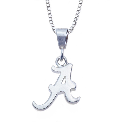 Sterling Silver 16in University of Alabama A Charm Necklace