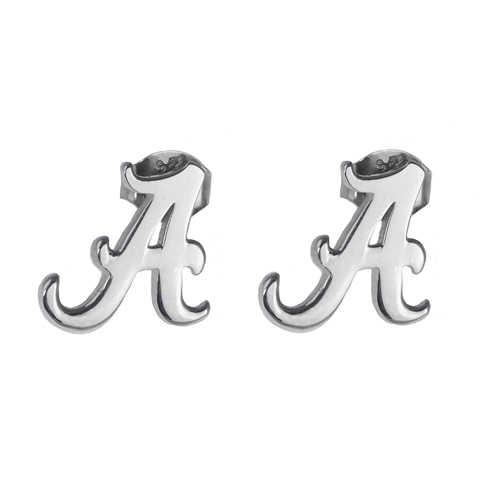 Sterling Silver University of Alabama Script A Post Earrings