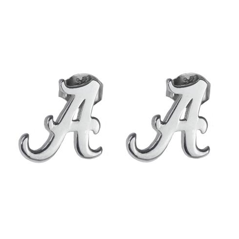 Sterling Silver University of Alabama Script A Post Earrings