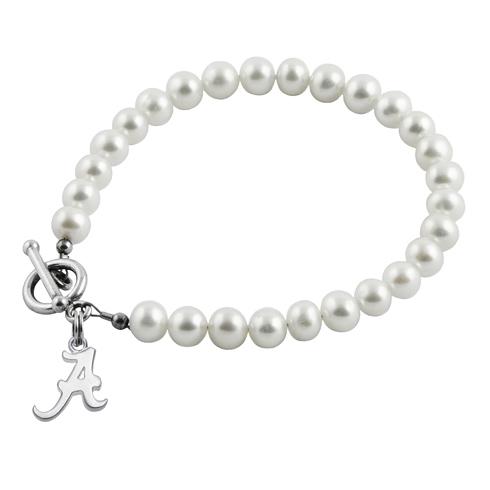 Sterling Silver University of Alabama White Pearl Bracelet