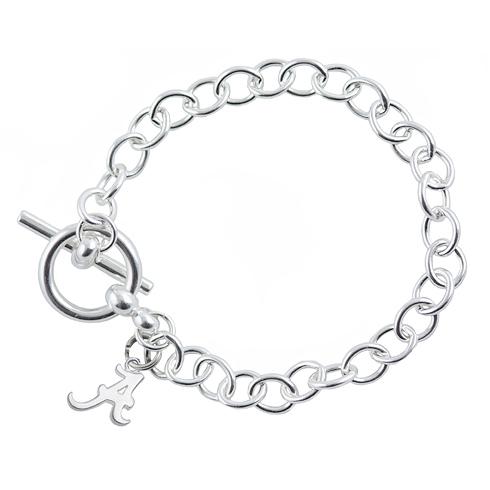 Sterling Silver 7 1/2in University of Alabama A Link Bracelet