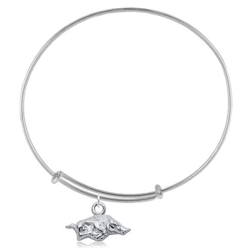 Sterling Silver Univ of Arkansas Charm Adjustable Bracelet
