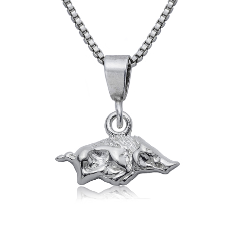 Sterling Silver 16in University of Arkansas Charm Necklace