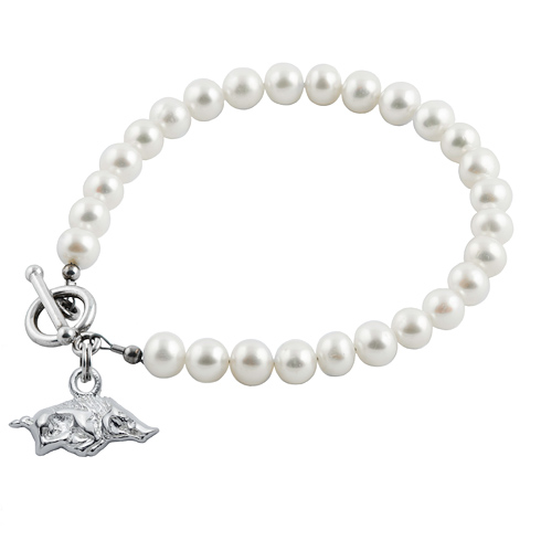 Sterling Silver University of Arkansas White Pearl Bracelet
