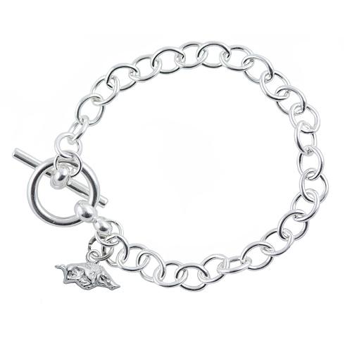 Sterling Silver 7 1/2in University of Arkansas Link Bracelet