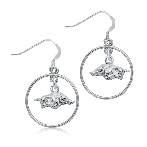 Sterling Silver University of Arkansas Open Drop Earrings
