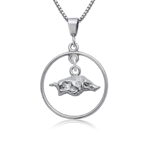 Sterling Silver University of Arkansas Open Drop Necklace