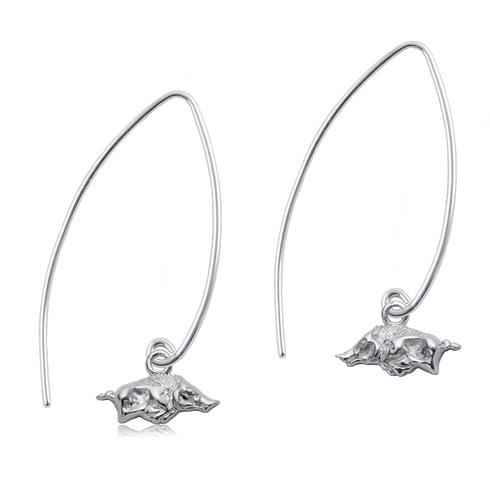 Sterling Silver University of Arkansas Long Fishhook Earrings