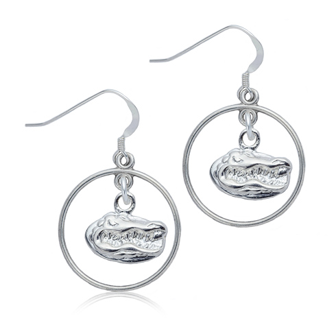 Sterling Silver University of Florida Open Drop Earrings