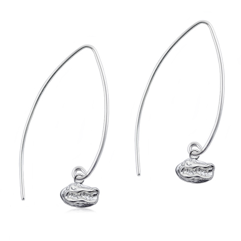 Sterling Silver University of Florida Long Fishhook Earrings