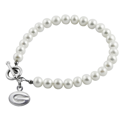 Sterling Silver University of Georgia White Pearl Bracelet