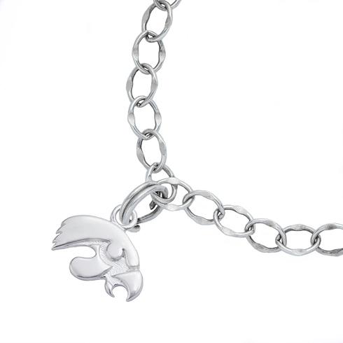 Sterling Silver 7 1/2in University of Iowa Charm Bracelet