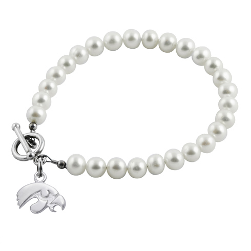 Sterling Silver University of Iowa White Pearl Bracelet