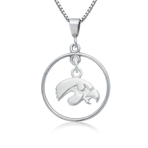 Sterling Silver University of Iowa Open Drop 16in Necklace
