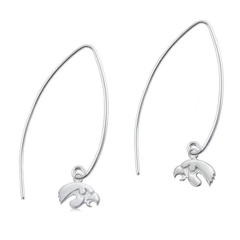Sterling Silver University of Iowa Long Fishhook Earrings