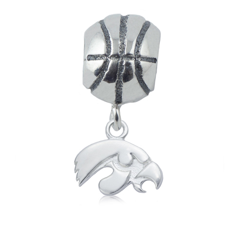 Sterling Silver University of Iowa Basketball Bead