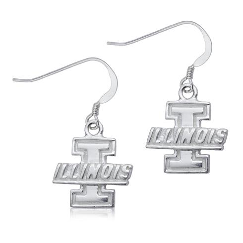 Sterling Silver University of Illinois Dangle Earrings