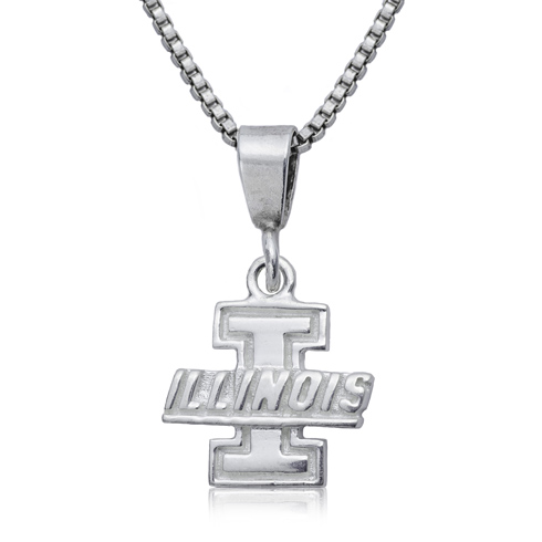 Sterling Silver 16in University of Illinois Charm Necklace