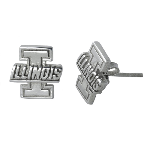 Sterling Silver University of Illinois Post Earrings