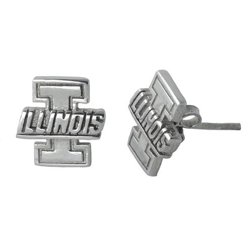 Sterling Silver University of Illinois Post Earrings