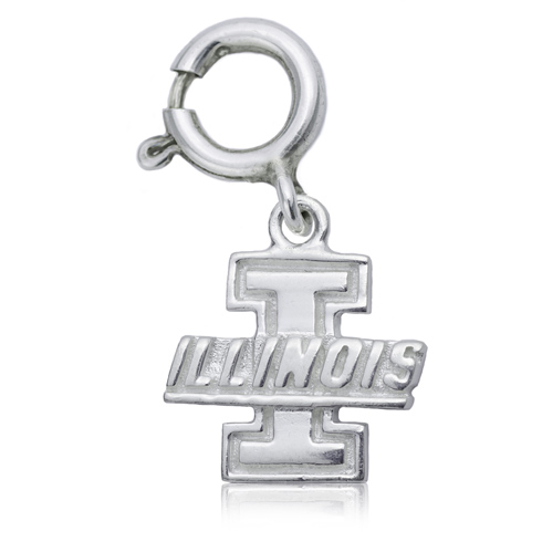Sterling Silver 3/8in University of Illinois Charm
