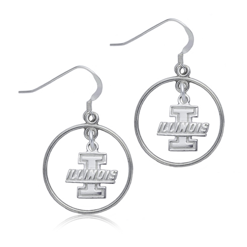 Sterling Silver University of Illinois Open Drop Earrings