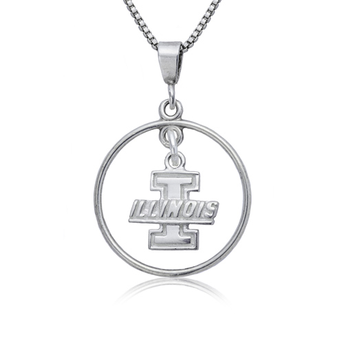 Sterling Silver University of Illinois Open Drop Necklace
