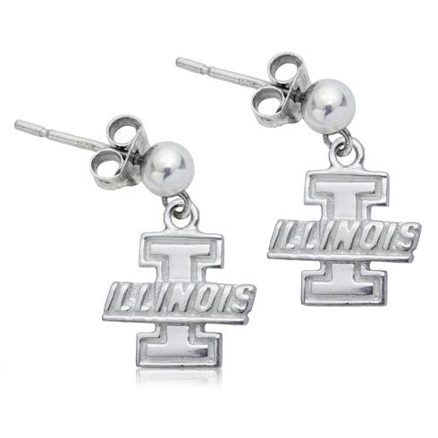 Sterling Silver University of Illinois Post Dangle Earrings