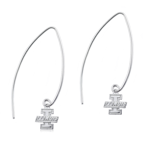 Sterling Silver University of Illinois Long Fishhook Earrings