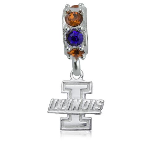 Sterling Silver University of Illinois Spirit Charm Bead