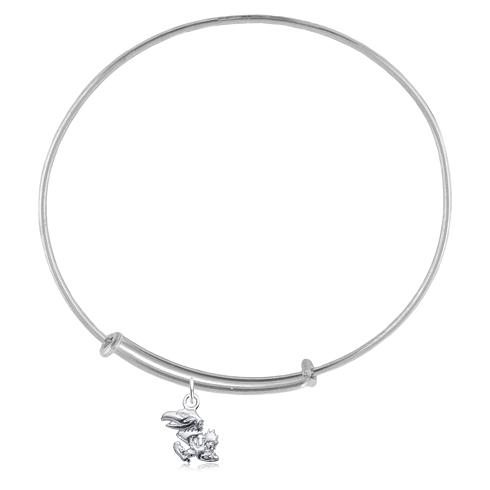 Sterling Silver Univ of Kansas Charm Adjustable Bracelet