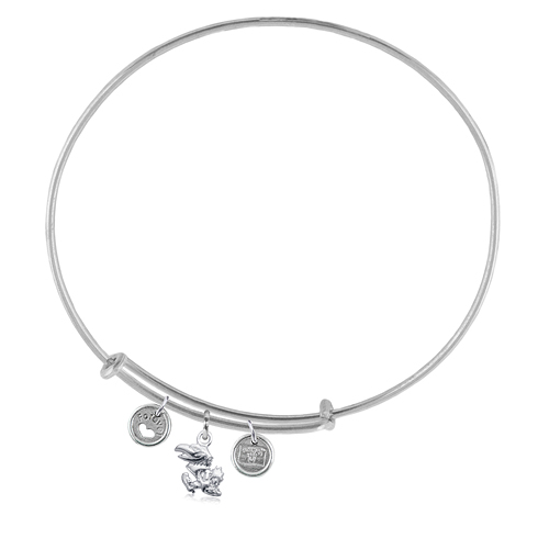 Sterling Silver Univ of Kansas Adjustable Bracelet with Charms