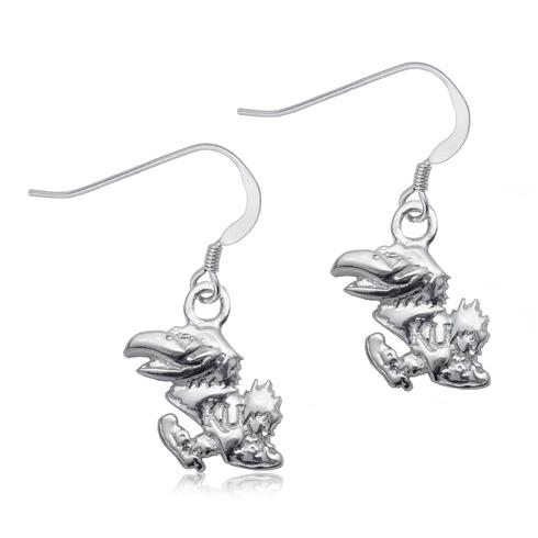 Sterling Silver University of Kansas Dangle Earrings