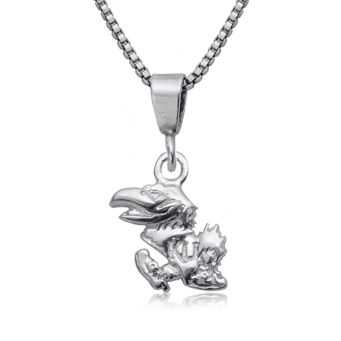 Sterling Silver 16in University of Kansas Charm Necklace