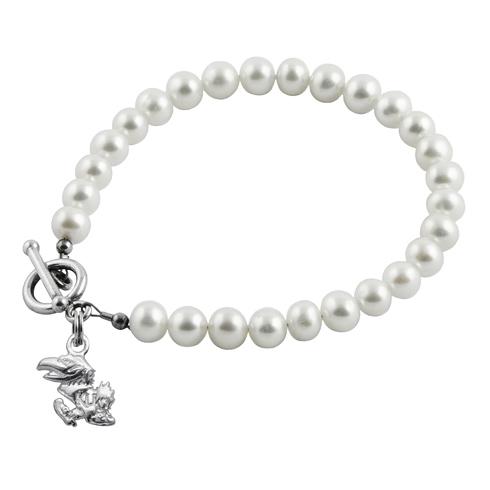 Sterling Silver University of Kansas White Pearl Bracelet