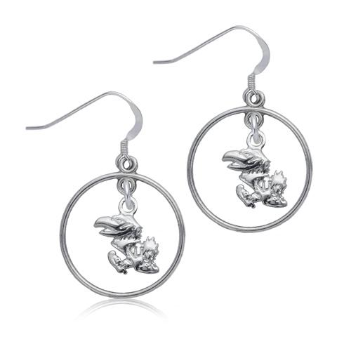 Sterling Silver University of Kansas Open Drop Earrings