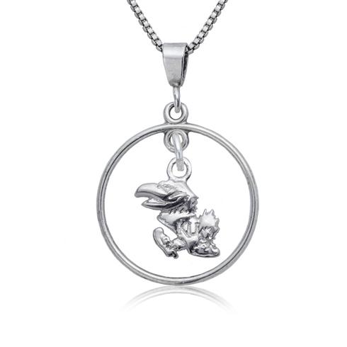 Sterling Silver University of Kansas Open Drop Necklace