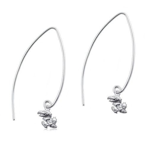 Sterling Silver University of Kansas Long Fishhook Earrings