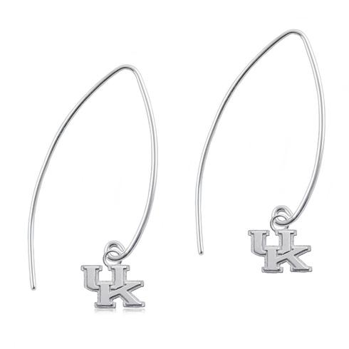 Sterling Silver University of Kentucky Long Fishhook Earrings
