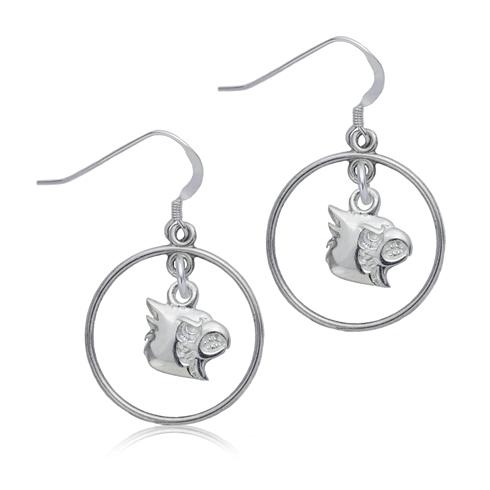Sterling Silver University of Louisville Open Drop Earrings