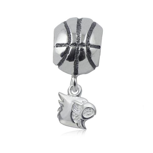 Sterling Silver University of Louisville Basketball Bead